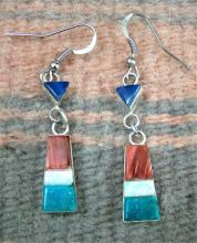 Navajo Lapis, Spiny Oyster, Opal, Turquoise Inlay Dangle Earrings By P.smith