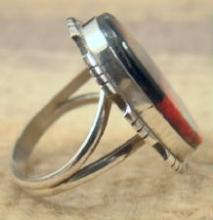 Navajo Multi Stone Inlay Arrow Design Ring Sz 7 3/4