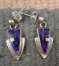Navajo Sugalite & Real Opal Inlay Arrowhead Earrings By E.hoskie