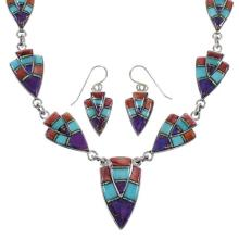 Southwestern Multicolor Inlay Sterling Silver Link Necklace Set