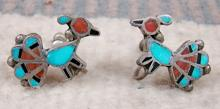 40's Zuni Turquoise Coral Jet Inlay Peacock Screw Clasp Earrings