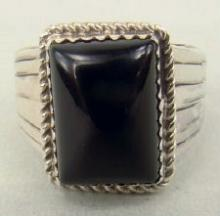 Navajo Rectangular Onyx Rings Sz 8 3/4 And 9