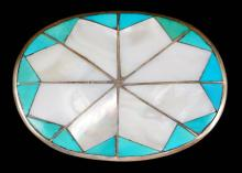 Zuni Turquoise Mother Of Pearl Mosaic Inlay Snowflake Buckle 2