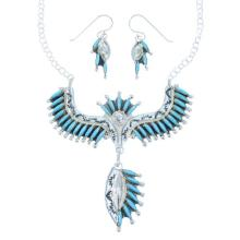 Genuine Sterling Silver Turquoise Needlepoint Zuni Necklace Set