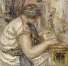 PIERRE-AUGUSTE RENOIR - WOMAN IN AN ARABIAN BLOUSE READING