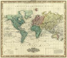 HENRY S. TANNER - WORLD ON MERCATORS PROJECTION, 1823
