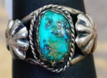 Vintage Navajo Turquoise Double Hogans Ring Sz 6 1/4