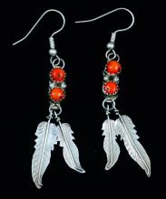 Navajo Double Coral Double Feather Earrings