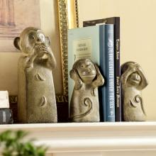 Three Wise Monkey Trio Bookends (set of 3)