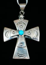 Navajo Double Overlay Cross W/turquoise Stone Pendant By Running Bear