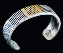 Heavy Navajo 14k Gold Silver Inner Stamped Bracelet By J. Nez