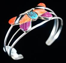 Navajo Multistone Inlay Butterfly Bracelet By L.lincoln