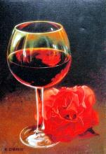 E. Denis  Glass With Red Rose