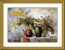Carl H. Fischer - Cornflowers, Daisies and Other Flowers In a Vase