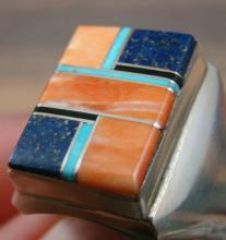 Men's Navajo Square Multistone Inlay Cast Ring By W.gray Sz 14 1/4