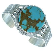 Navajo Kingman Turquoise Genuine Sterling Silver Cuff Bracelet