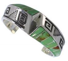 Turquoise Inlay Silver Southwestern Bracelet