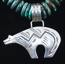 Vintage Navajo Graduating Turquoise Disc Necklace W/hollow Spirit Bear Pendant By T.singer