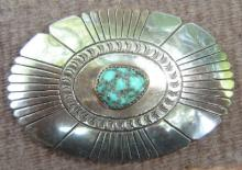 Solid Navajo Turquoise Pyrite Nugget Belt Buckle 2 1/8