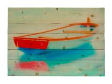Red White And Blue Adrift By Hal Halli Painting Print On Decorative Wood Wall Décor