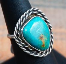 Vintage Navajo Turquoise Double Twist Ring Sz 7 1/2