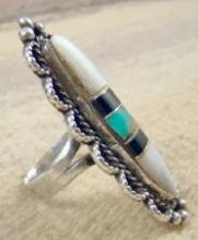 Xlg Vintage Zuni Multistone Ring Sz 9 3/4