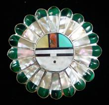 1 Zuni Multi Stone Inlay Sunface Feathers Pin/pendants By V&e Niiha