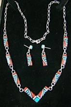 Zuni 7 Section Geometrical Multi Stone Inlay Necklace And Earrings Set By Clarence Booqua