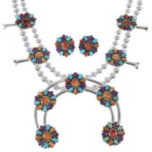 Southwest Multicolor Sterling Silver Squash Blossom Necklace Set