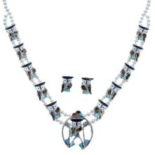 Multicolor Inlay Owl Sterling Silver Zuni Squash Blossom Necklace Set