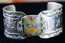 Vintage Navajo Boulder Turquoise Symbol Stamped Cuff Bracelet