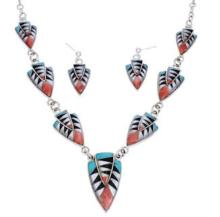 Southwest Multicolor Inlay Link Necklace Earring Set