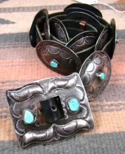 Vintage Navajo Turquoise Decorative Stamped Concho Belt