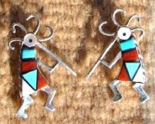 Zuni Multi Stone Geometrical Inlay Kokopelli Earrings By H.chavez