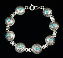 Vintage Navajo 8pc Domed Turquoise Sunburst Flower Stamped Concho Link Bracelet