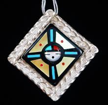 Lg Zuni Multi Stone Inlay Directional Sunface Pin/pendant By F.luna