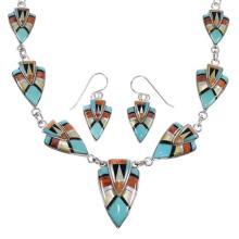 Southwestern Multicolor Inlay Genuine Sterling Silver Link Necklace Set