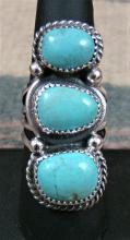 Large Navajo 3 Stone Turquoise Stack Ring By A.joe Sz 8 1/4