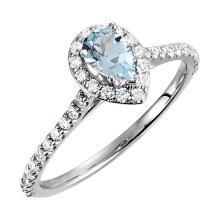 14K White Aquamarine & 3/8 CTW Diamond Engagement Ring