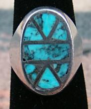Vintage Zuni Turquoise Inlay Cast Ring Sz.6