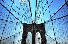 Brooklyn Bridge 2. Unique View Against New York Skyline. A Gallery Wrapped Canvas By Kelly Wade