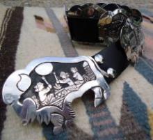 Navajo 9pc Storyteller Overlay Buffalo Concho Belt