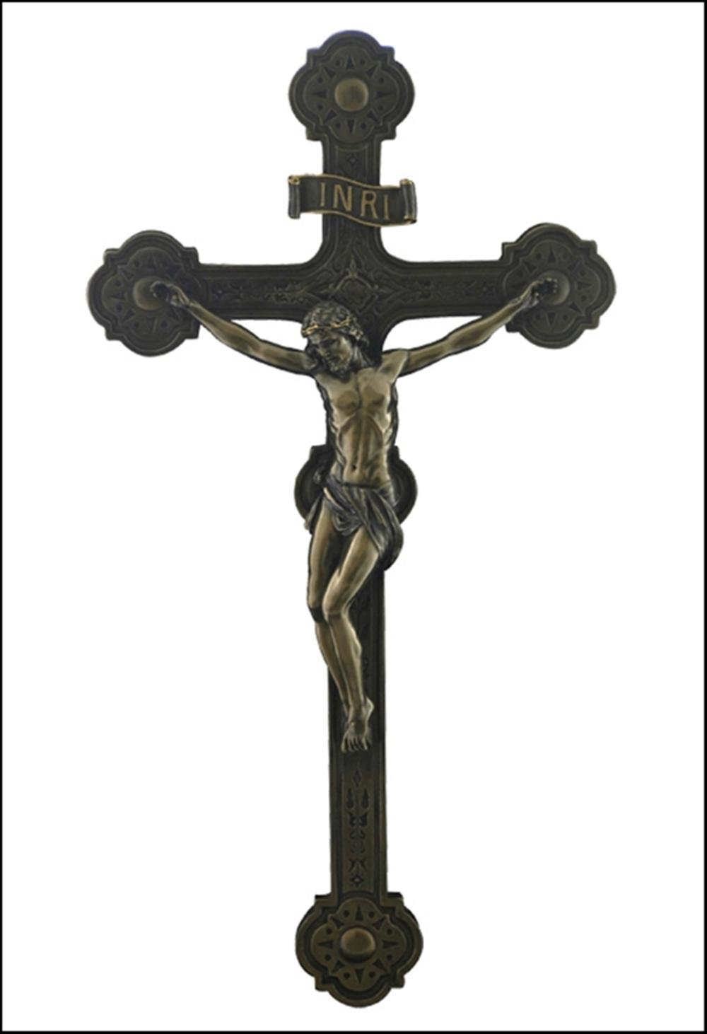 CATHEDRAL STYLE CRUCIFIX WALL PLAQUE Art