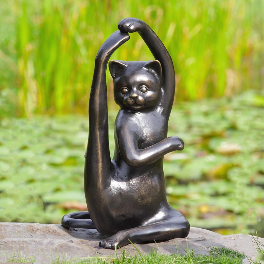Stretching Yoga Cat Garden Sculpture