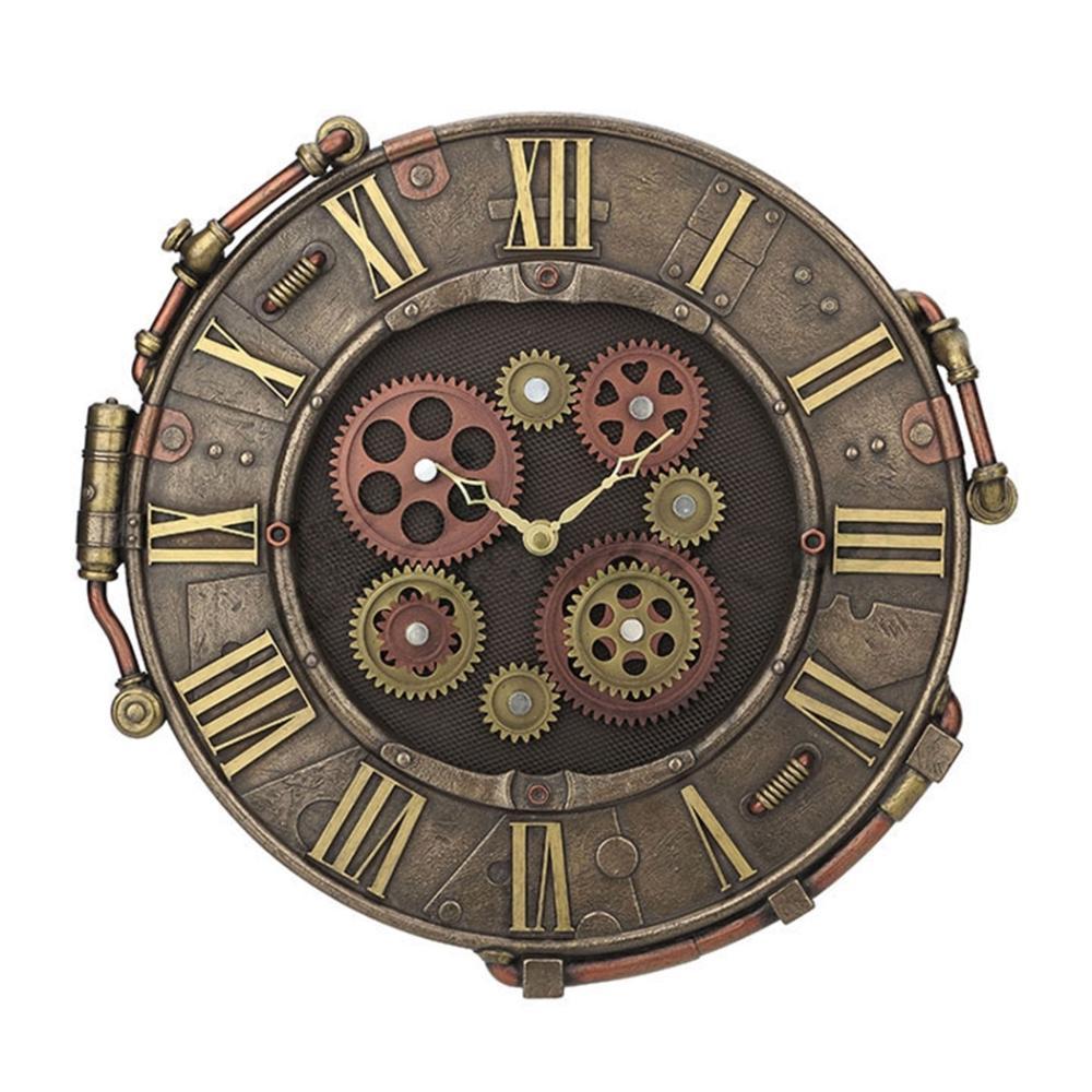 Steampunk Rivet Metal Plate Wall Clock