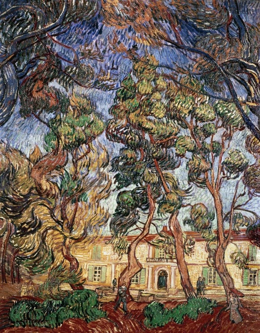 VINCENT VAN GOGH - TREES IN THE GARDEN OF SAINT-PAUL HOSPITAL