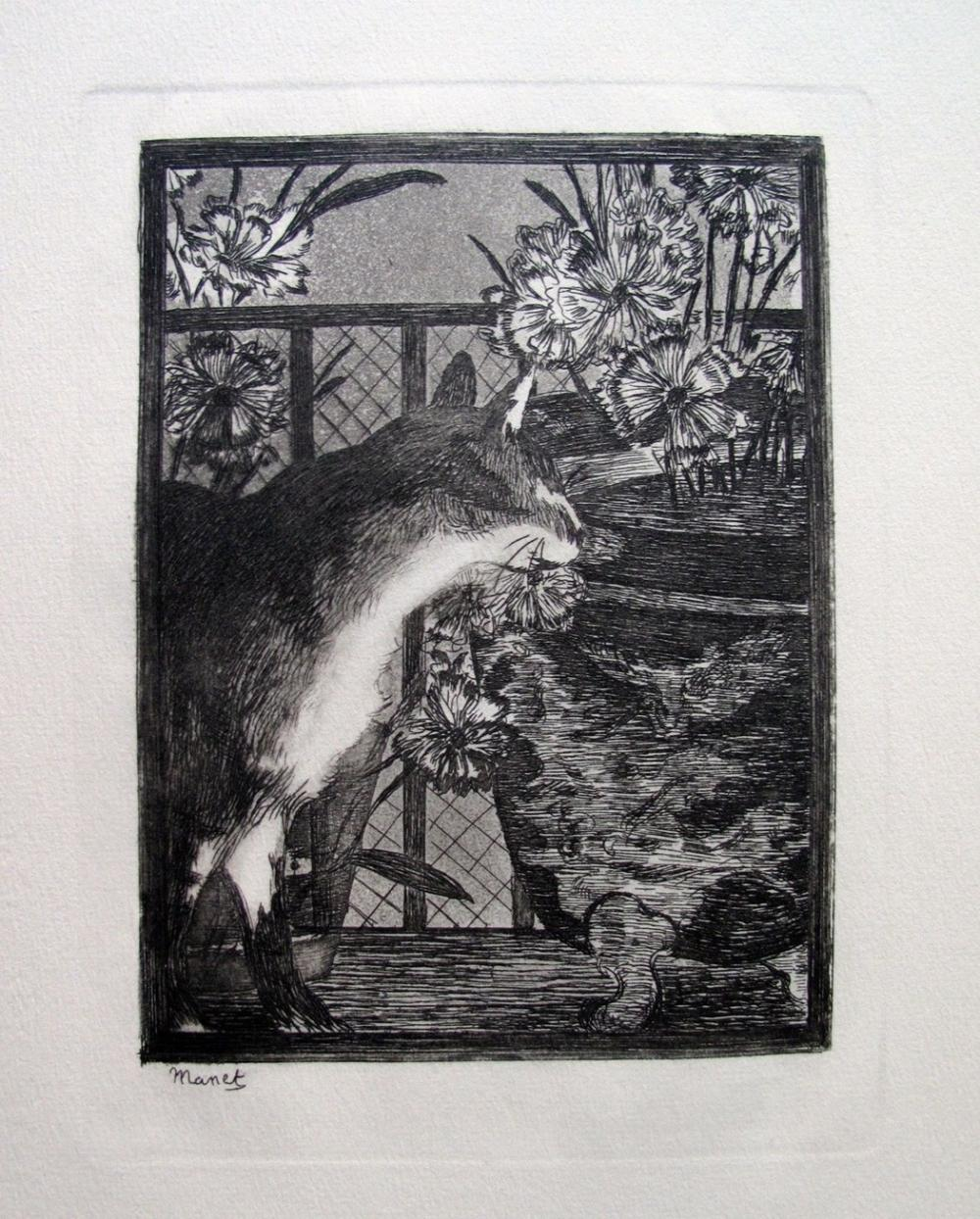 Edouard Manet  Le Chat Aux Fleurs