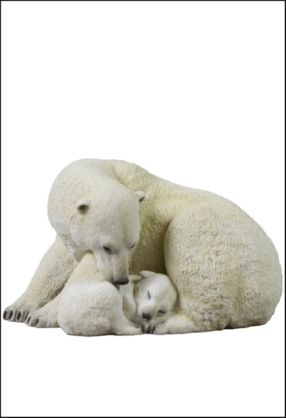 POLAR BEAR CUB CUDDLING WITH MOTHER