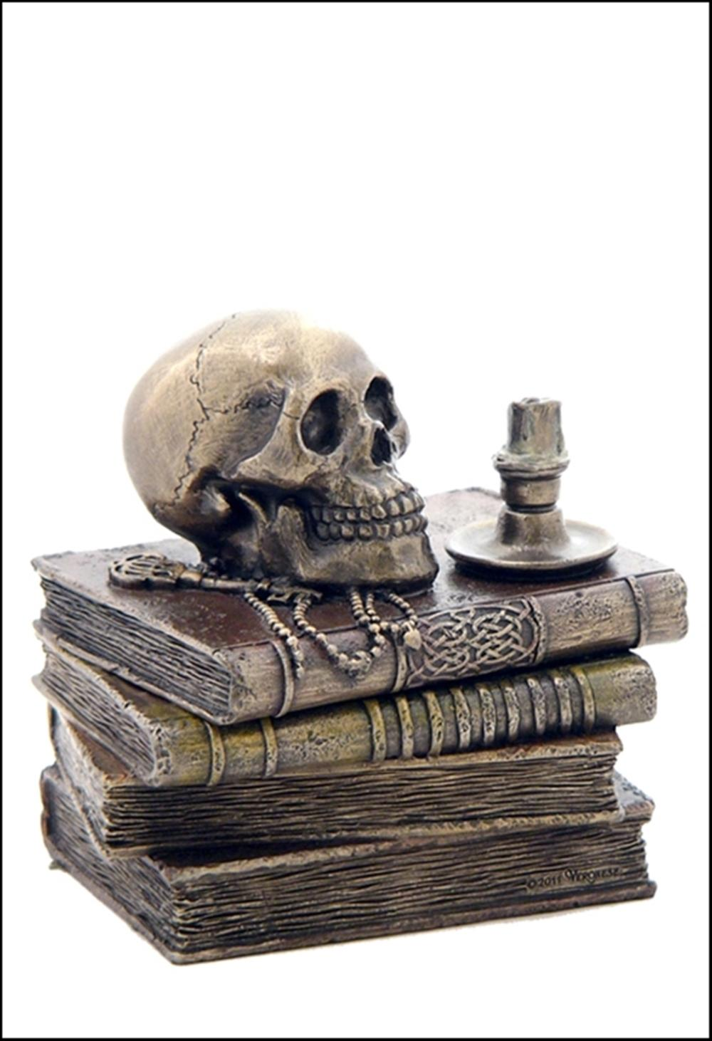 WIZARD'S STUDY TRINKET BOX WITH SKULL AND CANDLE Art