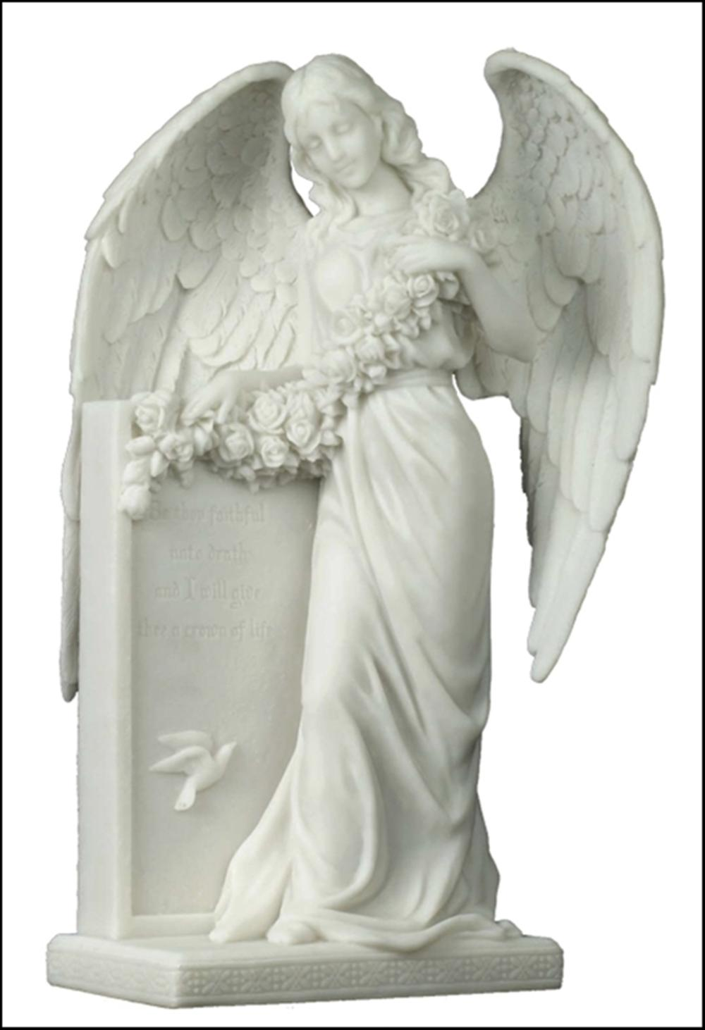 WEEPING ANGEL HOLDING FLOWERS AT THE TOMBSTONE